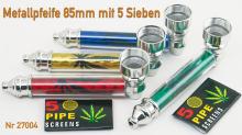 Metallpfeife mit 5 Sieben ca 8cm