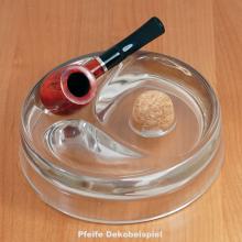 Pfeifenascher mit 2 Ablagen Weissglas rund 17cm