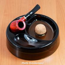 Pfeifenascher mit 2 Ablagen Rauchglas rund 17cm