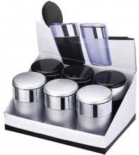 Autoascher schwarz und silber mit Klappdeckel und LED Licht