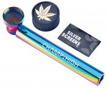 Glaspfeife Rainbow mit Sieben & Grinder ca 10cm
