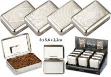 Tabakdosen mittelgroß mit Blättchenhalter chrom VE 12