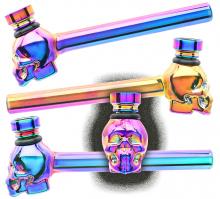 Glaspfeife Rainbow SKULL ca 13cm